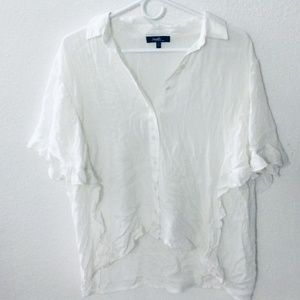 Ruffled White Button-up Blouse